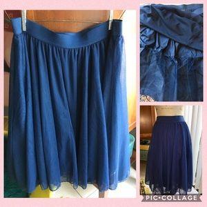 Torrid Navy Tulle Tiered A-line Midi Skirt